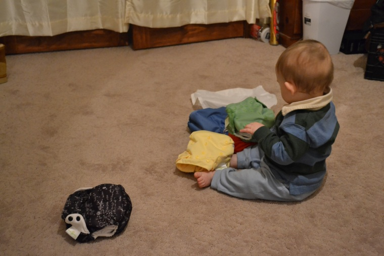 "The black diaper to the left is called, ""Albert"" and has physic equations on it. I know, i think it's awesome too."