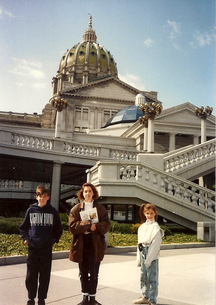 Harrisburg, Pennsylvania Capital Building.Circa 1992, love the clothes? I didn't design jeans with pleats, I just had to wear them!