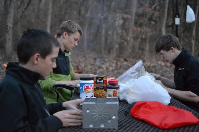 The boys each made dinners, while Dan and I made super de-lish steak and potato foil dinners.