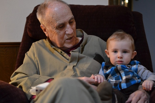 """Grandad, """"the Tenant"""", with my baby."""