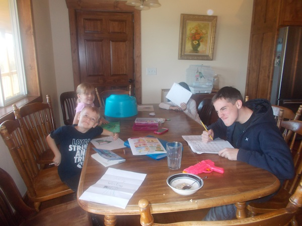 My sister came to stay for a few weeks - her husband is working a large project for his employer - and as a homeschool mom, she can do school anywhere.