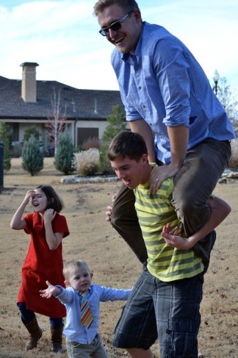 My youngest brother carrying my husband...who is at least twice his own weight.