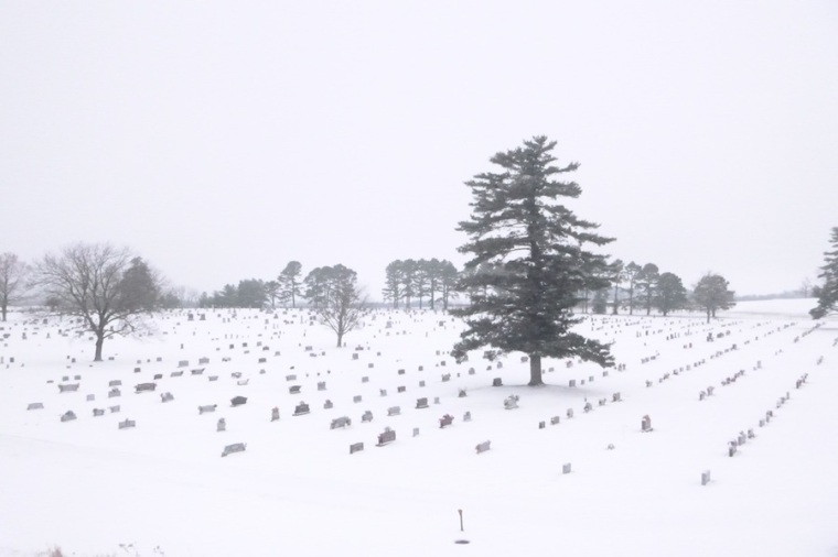 The beautiful cemetery that sits near the highway.