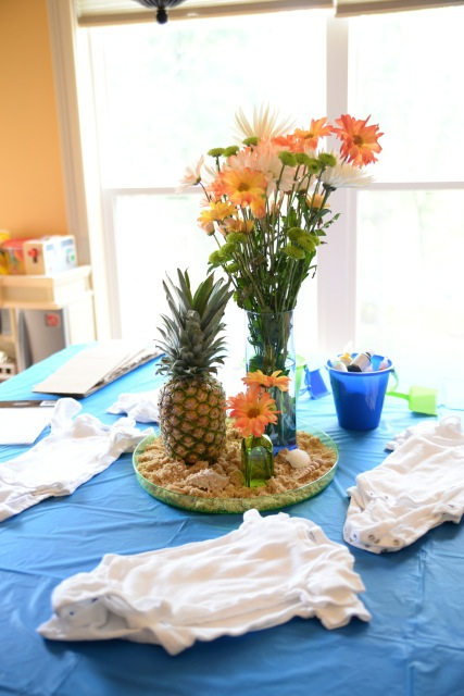 Details - I love the center piece on the crafting table, where we painted onesies.
