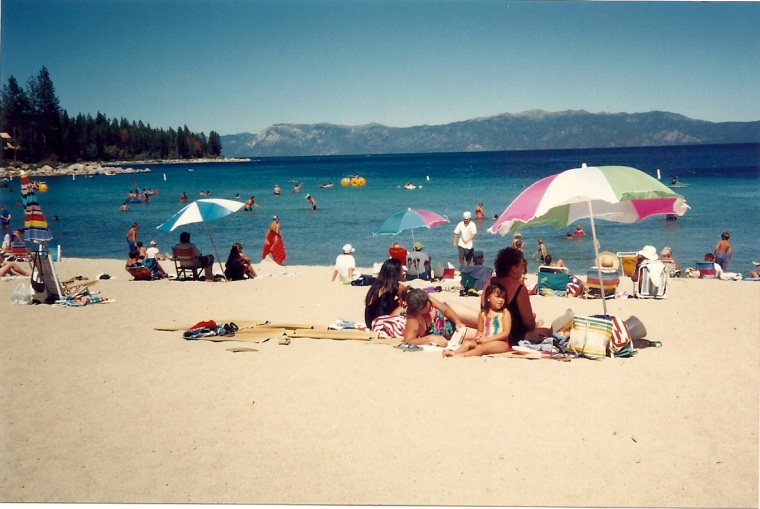 Awe, the shores of Lake Tahoe. Where the water is chillingly cold year round!