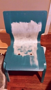 "I used a five dollar can of ""tester"" paint to coat all four chairs."