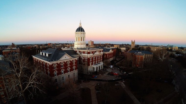 My husband took some aerial photos of campus. Jesse Hall under construction.