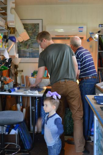 Grandpa stained glass workshop.
