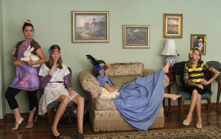 That one time I house sat my Aunt and Uncle's house and stayed with the girls...and we fought Saturday boredom with dress up. I believe my name was 'Phyllis Moneybags.'
