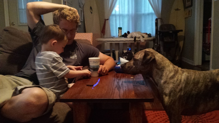 Daddy and Wiley enjoying Oreos. Doggy begging for a bite.