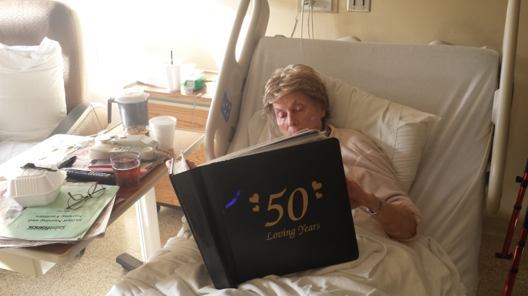 I brought her 50th wedding anniversary album - she stared at every page for a long time - relearning things.