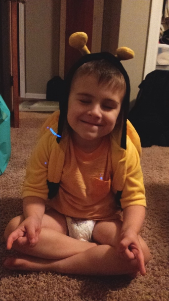 stuffed himself into a bee costume for a 6-9 month old. Then sits down to meditate.